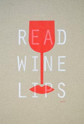 Read Wine Lips | A3 - Riso poster Wit-Fluororange