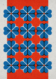 hartje4 patroon A3 Riso poster FluorOranje Blauw - voorbeeld