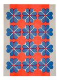 hartje4 patroon A3 Riso poster FluorOranje Blauw - foto