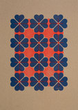 hartje4 patroon 2  A3 Riso poster FluorOranje Blauw