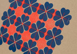 detail hartje4 patroon 2  A3 Riso poster FluorOranje Blauw