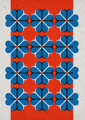 Hartje4 patroon | A3 Riso poster FluorOranje blauw