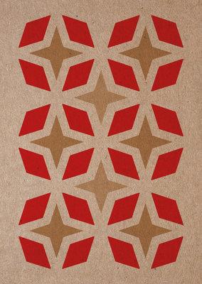 sterren | A6 Riso ansichtkaart rood goud