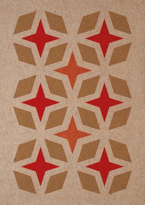 sterren | A6 - Riso ansichtkaart goud rood