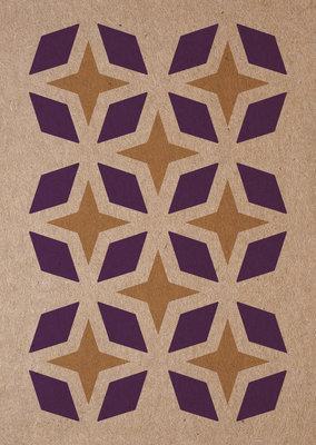 sterren | A6 - Riso ansichtkaart paars goud