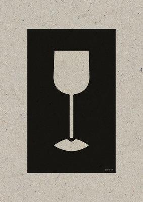 Wine Lips | A3 Riso Artprint Zwart