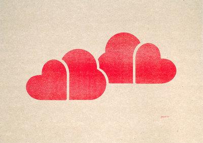 In De Wolken | A3 Riso Artprint Fluor Rood