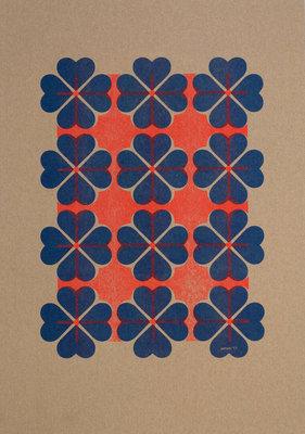 Hartje4 patroon 2 | A3 Riso poster FluorOranje blauw
