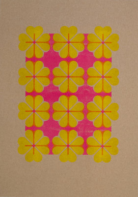Hartje4 patroon 2 | A3 Riso poster FluorPink Yellow