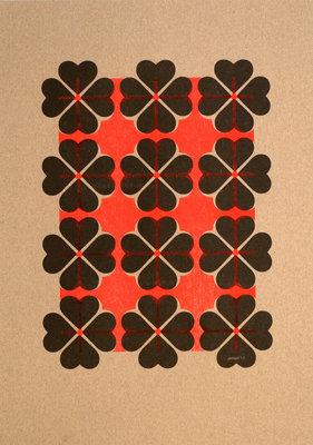 Hartje4 patroon 2 | A3 Riso poster FluorOranje zwart