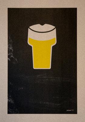 BIER | A3 Riso poster Zwart Geel