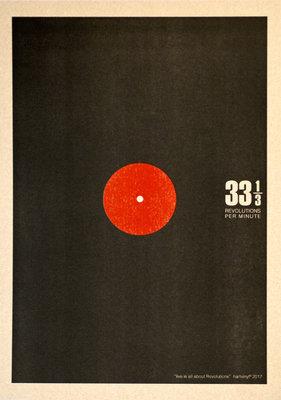 33RPM Plaat | A3 Riso Artprint Zwart Rood