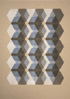 Hexagon | A3 Riso poster Zwart Wit