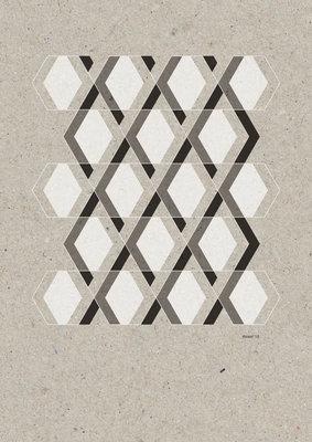 Hexagon lijnen | A3 Riso Artprint Zwart Wit