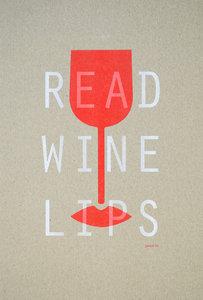 READ WINE LIPS A3 Riso poster wit/fluororange