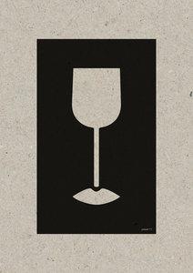 WINE LIPS A3 Riso poster zwart