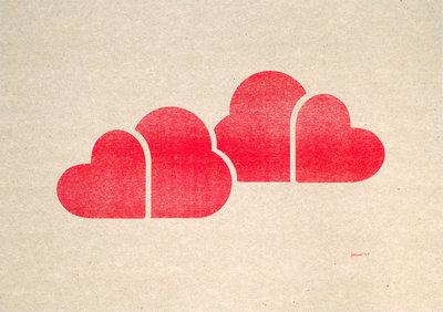 In De Wolken A3 Riso poster Fluor Rood