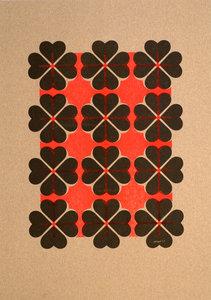 hartje4 patroon A3 Riso poster FluorOranje Zwart