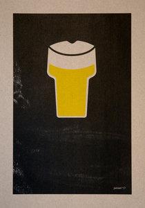 BIER A3 Riso poster zwart geel